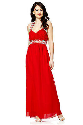 NEW Red Maxi Dress Gatsby Dress Embellished Bridesmaid Party Gown SIZE 10