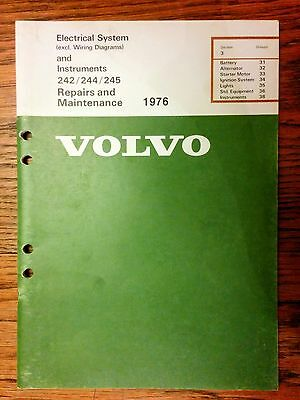 Volvo Service Manual Green Book TP 11402/3 240 Electrical System 1976 11402