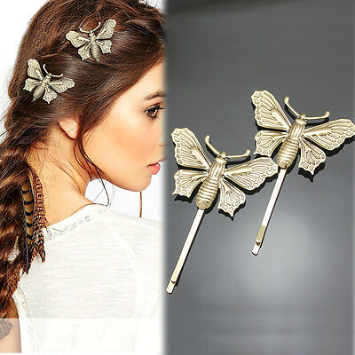 Victorian Pack 2 Antique Butterfly French Updo Head Hair Dress Grip Pin Clip