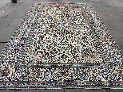 Fine Old Hand Made 11 x 8 Persian Rugs Oriental Wool Cream Carpet Rug 350x242cm
