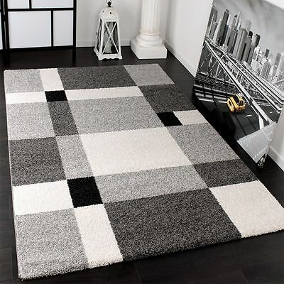 Small Large Rug Soft Thick Shaggy Modern Rugs Grey Living Room Dining Area Mats