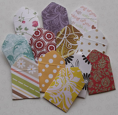 MINI ENVELOPES pack of 12 Assorted for card making or scrapbooking