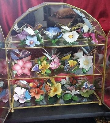 Franklin Mint Butterflies of the World 15 Porcelain Sculptures w/ Display &Cards