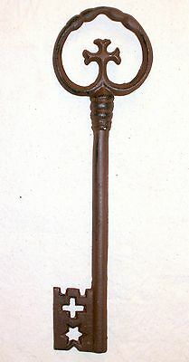 NEW~XL Cast Iron Medieval Gothic Cross Skeleton Key Wall or Tabletop Decor