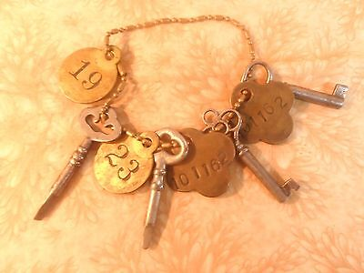 Vinage Key  Tags number brass skeleton key dog tag chain