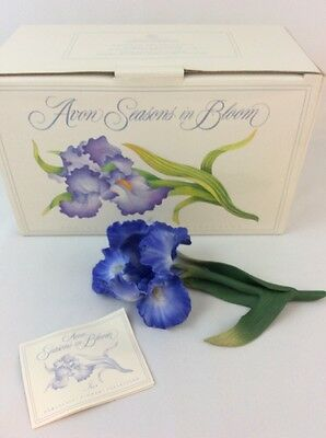 Avon Seasons in Bloom Iris Porcelain Flower Collection Figurine 1987 New in Box