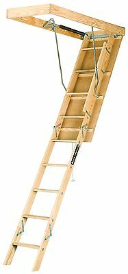 Louisville Ladder S254P 250-Pound Duty Rating Wooden Attic Ladder Fits 7-Foot t