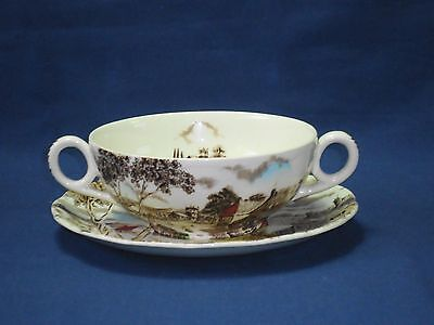 Vintage W H Grindley Sunday Morning ceramic two handled soup bowl and saucer