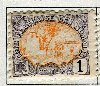 FRENCH SOMALIA;  1902 early pictorial issue mint hinged 1c. value