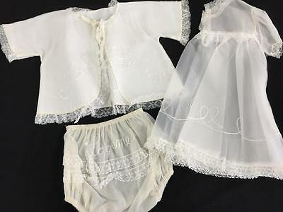vintage baby clothes 1950s never worn girl layette embroidered dress jacket 3 pc