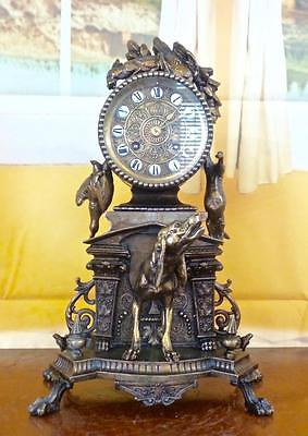 Antique 19th c French Japy Freres mantel clock with superb hunting theme & Dog