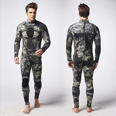 Green Gray 3MM Camouflage Full Body wetsuit Surf SCUBA Skin Diving Spear Fishing