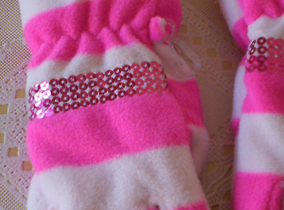 Childrens Place GIRLS GLOVES age 8+  VERY SOFT PINK WHITE w/ hot pink sequins