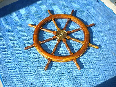 """Authentic Vintage Ships Wheel 38"""" Solid Teak Rugged Nautical Yacht"""