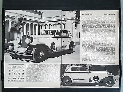 1931 Rolls Royce Phantom I Springfield  4-Page Article - Free Shipping
