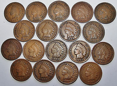 1888 -1908 Indian Head Cent  - 18 Coin Collection Lot For Your Set