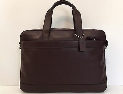 COACH Men's Calf Leather HAMILTON Laptop Business BRIEFCASE in OXBLOOD $485 NWT