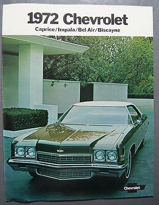 Original 1972 GM Chevrolet Impala, Bel Air, Caprice, Biscayne Dealer Brochure