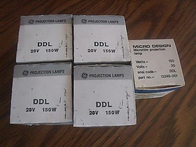 Qty of 5 DDL NOS Projection Lamp 20V 150W, 4 General Electric,1  Bell & Howell