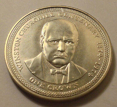 1974 Solid Silver Proof,churchill-1 Crown-Isle Of Man