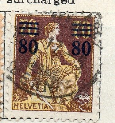 Switzerland 1915 Early Issue Fine Used 80c. Surcharged 133347