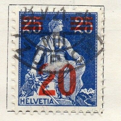 Switzerland 1921 Early Issue Fine Used 20c. Surcharged 133363
