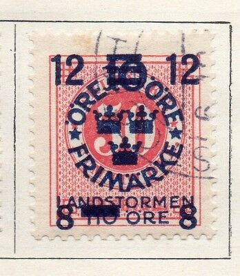 Sweden 1919 Early Issue Fine Used 12ore. Surcharged 133393