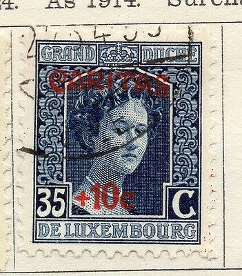 Luxembourg 1924 Early Issue Fine Used 35c. Optd Surcharged 133915