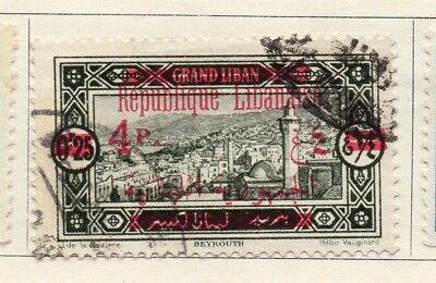 Great Lebanon 1928 Early Issue Fine Used 4p. Optd Surcharged 133983