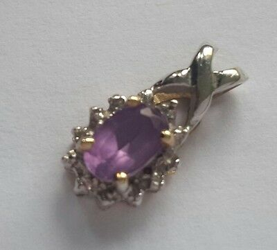 "Vintage 9 ct gold real amethyst pendant 18 "" 9 ct gold chain"