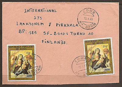 BENIN - AFRICA / FINLAND. 1985. COVER.  POSTMARK COME. TWO 75f 0N 300f OVERPRINT