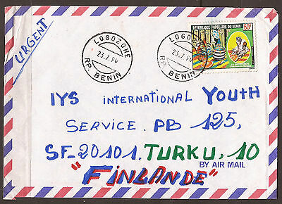 BENIN - AFRICA / FINLAND. 1990.  AIR MAIL COVER. POSTMARK LOGOZOHE. SINGLE 60f F