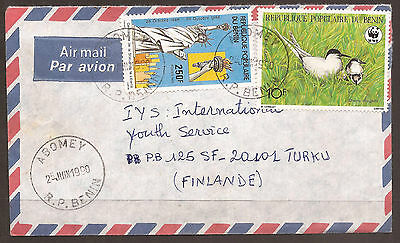 BENIN - AFRICA / FINLAND. 1990. AIR MAIL COVER.  POSTMARK ABOMEY. 10f WWF STORM