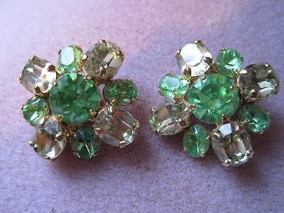 Vtg IVANA Pronged  Faceted 2 Tones Light Green Layered Clip On  Earrings WOW