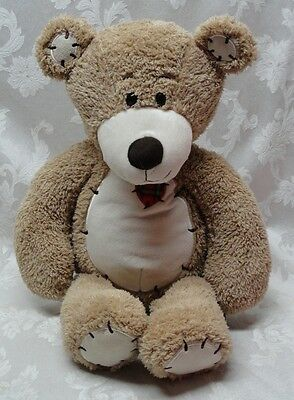 """Patchwork Truly Tender the Teddy Bear 23"""" First & Main Heart #1617 Classic EUC"""