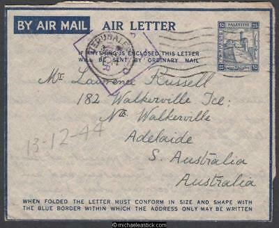 Palestine 1944 (Dec) Censored Air Letter Jerusalem to South Australia
