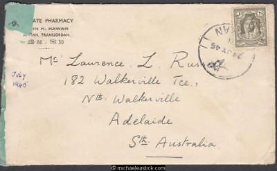 Transjordan 1945 (Jul) Censored Cover and Letter Amman to South Australia