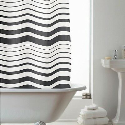Black Stripes 180 cm Long PEVA Shower Curtain Screen with 12 C Shaped Rings