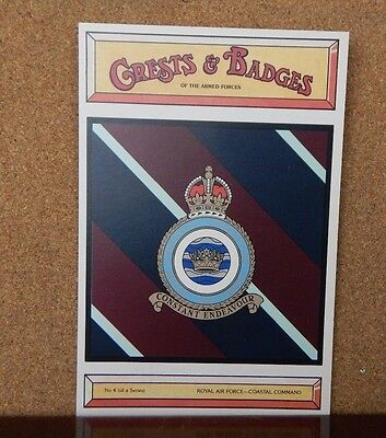 Royal Airforce Coastal command Crests & Badges Of the Armed services postcard