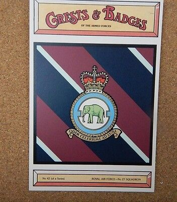 Royal Air force No 27 Squadron Crests & Badges of  the Armed services Postcard