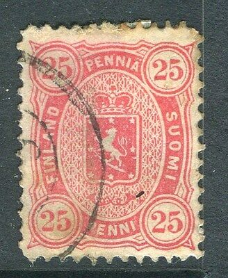 FINLAND;   1875 early classic issue used 25p. value
