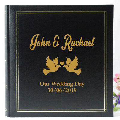 Wedding Black Photo Album - Personalised Gift  - Add a Name & Message