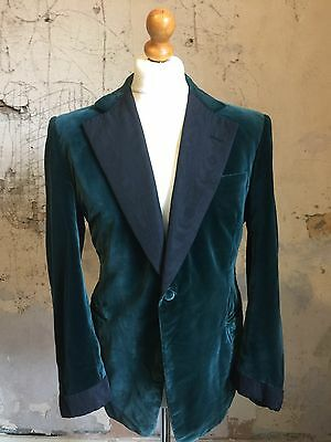 Vintage Bespoke Mens Silk Velvet Smoking Jacket Size 40 Reg