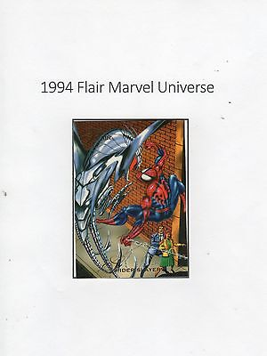 1994 Flair Marvel Universe Trading Card #92 Spider-Man & Spider Slayers