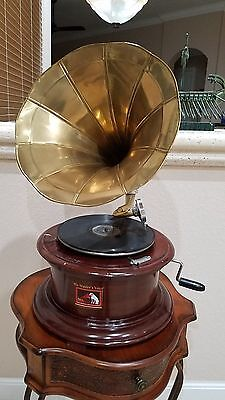 Victorian Gramaphone or Gramophone with Gold Horn Record Player 78RPM
