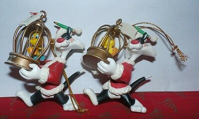 Lot of 2 1995 Sylvester the Cat and Tweety Ornament Looney Tunes
