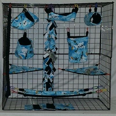 Olaf * 15 PC Sugar Glider Cage set * Rat * double layer Fleece
