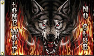 bid on LONE WOLF FLAME 3X5 MOTORCYCLE DELUXE BIKER FLAG FL418 new wolves rider