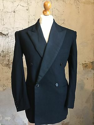 Mens Vintage Bespoke Double Breasted Dinner Jacket Suit Size 40