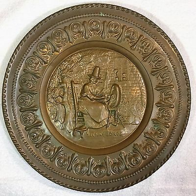"""Antique~Vintage JENNY JONES Spinning Wheel 12"""" Round Wall PLATE Tin Brass Copper"""